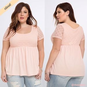 [Torrid] Pink Lace Bodice Babydoll Top